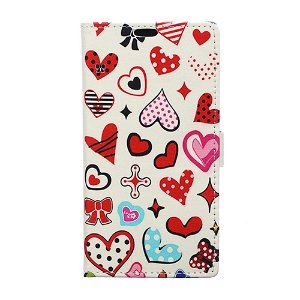 Huawei P30 Læder Cover m. Pung Colorful Hearts