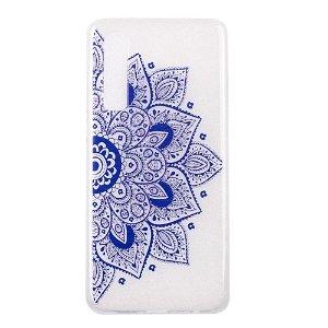 Huawei P30 Fleksibelt Plastik Cover - Blå Mandala Blomst
