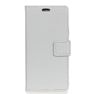 Huawei P30 Litchi Texture Wallet Cover m. Pung Hvid