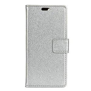 Huawei P30 Litchi Texture Wallet Cover m. Pung Sølv