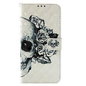 Huawei P30 Pro Skinnende Læder Cover m. Pung - Skull & Roses