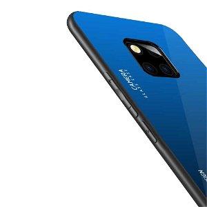 Huawei Mate 20 Pro Cover m. Glasbagside - Blå