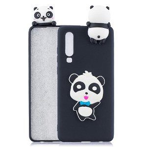 Huawei P30 Fleksibelt Plastik Cover 3D Panda m. Butterfly