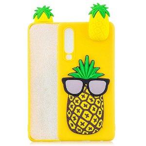 Huawei P30 Fleksibelt Plastik Cover 3D Ananas