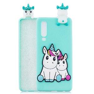 Huawei P30 Fleksibelt Plastik Cover 3D Unicorn
