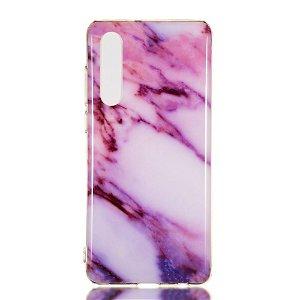 Huawei P30 Fleksibelt Marble Cover Lilla
