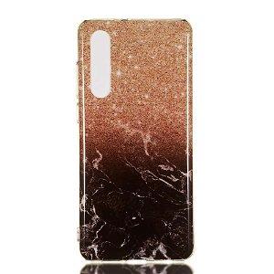 Huawei P30 Fleksibelt Marble Cover Guld / Sort