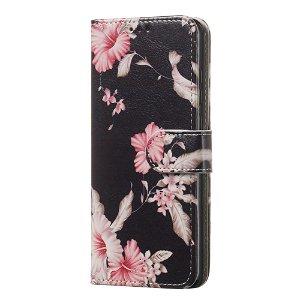 Huawei P30 Læder Cover m. Pung Blomster Print Sort