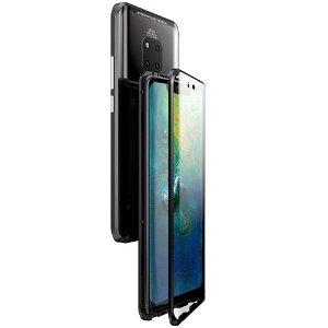 Huawei Mate 20 Pro Magnetisk Metalramme m. Glas For- og Bagside - Sort