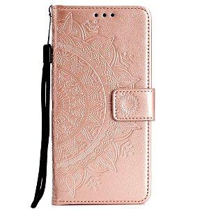 Huawei P30 Lite Læder Flip Cover m. Pung - Mandala Mønster Rose Gold