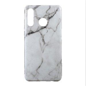 Huawei P30 Lite TPU Plastik Cover m. Hvid Marmor Look