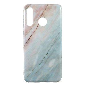 Huawei P30 Lite TPU Plastik Cover m. Blå Marmor Look