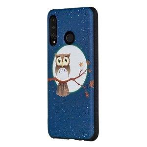 Huawei P30 Lite Fleksibelt Plastik Cover - Owl & Moon