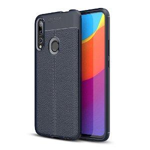 Huawei P Smart Z Litchi Læderbetrukket Cover Mørkeblå