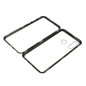 Huawei P30 Lite Magnetisk Metal Cover m Glas For- og Bagside - Sort