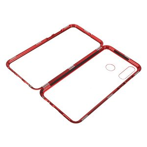 Huawei P30 Lite Magnetisk Metal Cover m Glas For- og Bagside - Rød
