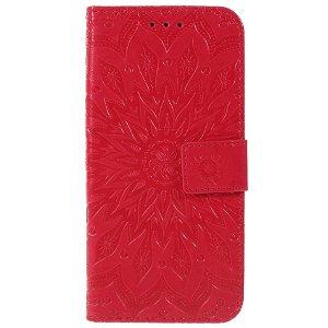 Huawei P Smart (2019) / Huawei Honor 10 Lite Læder Flip Cover m. Pung - Mandala Mønster Rød