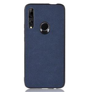 Huawei P Smart Z Læderbetrukket Plastik Cover Mørkeblå
