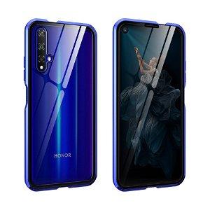 Huawei Nova 5T / Honor 20 360⁰ Magnetisk Cover m. Glas Forside & Bagside - Blå