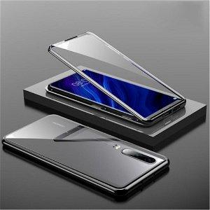 Huawei P30 Magnetisk Metal Cover m. Glasforside & Bagside - Sort