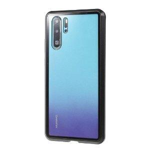Huawei P30 Pro Magnetisk Metalramme m. Glas For- og Bagside - Sort