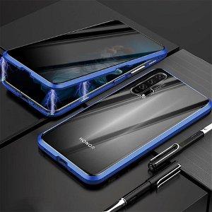 Honor 20 Pro 360° Magnetisk Cover m. Privacy Glas Forside - Blå