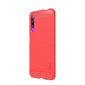 Huawei P Smart Pro Plastik Cover m. Carbon Fiber Look - Rød