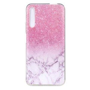 Huawei P Smart Pro Fleksibelt Plastik Cover - Marble & Glitter
