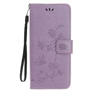 Huawei P Smart Pro Læder Cover m. Pung Blomster og Sommerfugle - Lilla