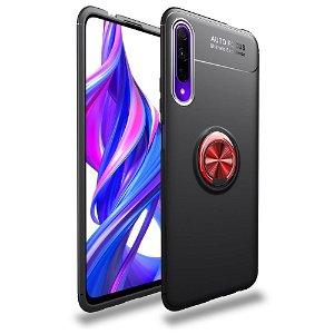 Huawei P Smart Pro LENUO Fleksibel Plastik Cover m. Ring Holder - Sort / Rød