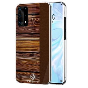 Huawei P40 Pro Pinwuyo Wood Grain Style Cover - Brun