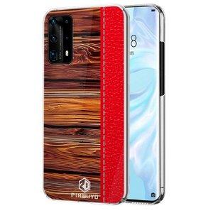 Huawei P40 Pro Pinwuyo Wood Grain Style Cover - Rød