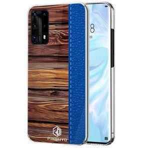 Huawei P40 Pro Pinwuyo Wood Grain Style Cover - Blå