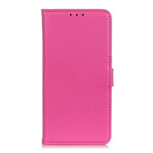 Huawei P40 Lite E Litchi Læder Cover m. Pung - Pink