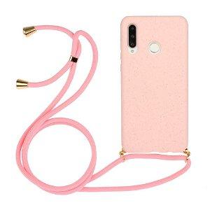 Huawei P30 Lite Fleksibelt Plast Cover m. Snor / Strop - Pink