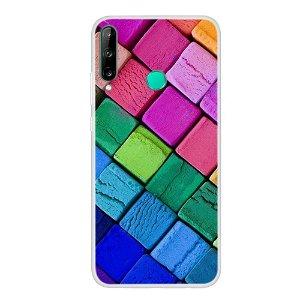Huawei P40 Lite E Fleksibelt Plast Cover - Farverige Firkanter
