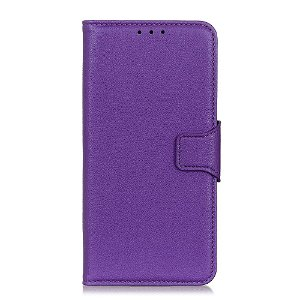 Huawei Y6p Litchi Læder Cover m. Kortholder - Lilla
