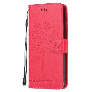 Huawei Y6p Læder Cover m. Kortholder - Ugler i Træ Rød