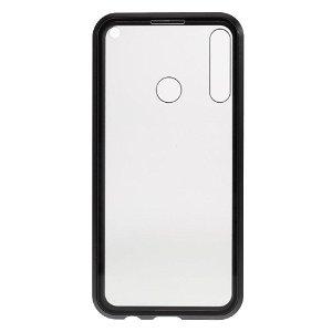 Huawei P40 Lite E Magnetisk Cover m. Privacy, Glas Bagside og Forside - Sort