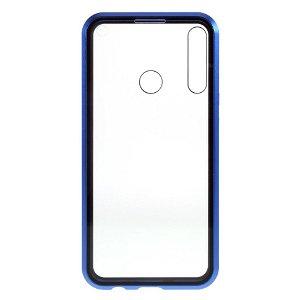 Huawei P40 Lite E Magnetisk Cover m. Privacy, Glas Bagside og Forside - Sort / Blå