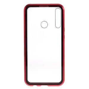 Huawei P40 Lite E Magnetisk Cover m. Privacy, Glas Bagside og Forside - Sort / Rød