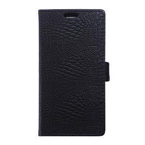 Huawei Y6 2 Compact Blankt Krokodille Etui m. Kortholder Sort