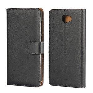 Huawei Y6 2 Compact Slim Wallet Læder Etui m. Pung Sort