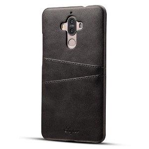 Huawei Mate 9 Plastik Cover m. PU læder og Kortholder - Sort