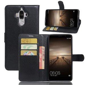Huawei Mate 9 PU Læder FlipCover m. Kortholder - Sort