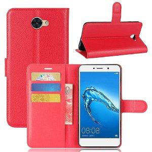 Huawei Y7 PU læder Flipcover m. Kortholder - Rød