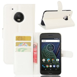 Motorola Moto G5 Plus PU læder Flipcover m. Kortholder - Hvid