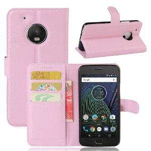 Motorola Moto G5 Plus PU læder Flipcover m. Kortholder - Lyserød