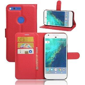 Google Pixel XL PU læder Flipcover m. Kortholder - Rød