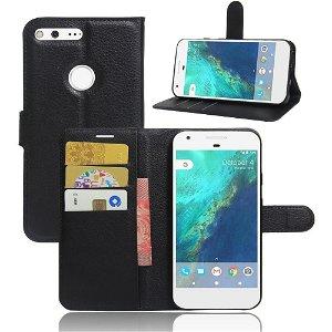 Google Pixel PU læder Flipcover m. Kortholder - Sort